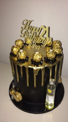 Made this beautiful black and gold Ferrero Rocher birthday cake with a shot of Ciroc on the side. It's a triple layer chocolate cake with black buttercream and a gold chocolate drip 18th Birthday Cake For Guys, Creative Birthday Cakes, Sweet 16 Birthday Cake, Birthday Gifts, Black And Gold Birthday Cake, Black And Gold Cake, Triple Layer Chocolate Cake, Chocolate Drip Cake, Ferrero Rocher