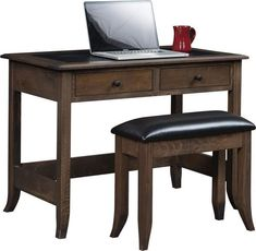 Amish Bunker Hill Writing Desk Exquisite writing desk with two drawers and leather top. Customized in Amish country and built in the wood, finish and hardware you choose.