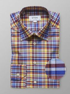 SportsX Men Plus Size Button Classic Plaid No Iron Comfort Woven Shirt