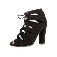 Delman Darci Suede Lace Up Bootie, Black ($273) ❤ liked on Polyvore featuring shoes, boots, ankle booties, black peep toe booties, black suede boots, black lace up booties, black lace up boots and black booties