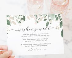 Wishing Well Enclosure Card Template, Boho Invite Design, Wedding Card Pink & White Floral, Editable, Templett Bar Menu, Wedding Templates, Wishing Well, Personalized Signs, In Loving Memory, Paper Background, Printing Services, Colorful Backgrounds