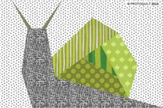 Snail paper pieced quilt pattern by ProtoQuilt