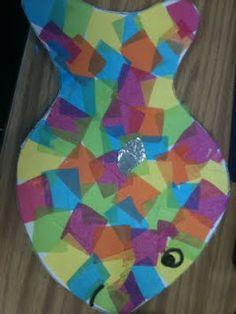 RAINBOW FISH tissue paper craft