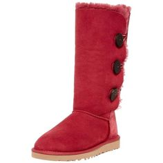 Pre-owned Ugg Australia Bailey Button Triplet Genuine Sheepskin Bomber... ($236) ❤ liked on Polyvore featuring shoes, boots, sangria, platform shoes, sheepskin lined boots, button boots, ugg australia boots and bomber boots