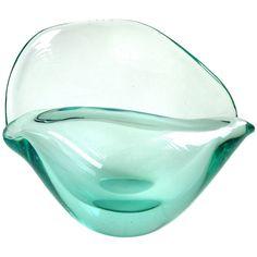 Unique Decorative Bowls Ercole Barovier Murano Blue Gold Flecks Italian Art Glass Conch