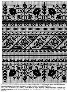 Сокальська сорочка Blackwork Embroidery, Folk Embroidery, Cross Stitch Embroidery, Embroidery Patterns, Cross Stitch Borders, Cross Stitch Designs, Cross Stitching, Cross Stitch Patterns, Fair Isle Knitting Patterns