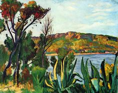 """Albert Marquet """"View of Agay"""", 1905 (France, Post-Impressionism, cent. Raoul Dufy, Henri Matisse, Rio Sena, André Derain, Color Secundario, Art Français, Post Impressionism, Impressionist Art, Art Moderne"""