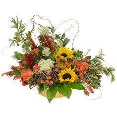Bespoke style autumn flower bouquet.  Sunflowers, roses, foraged materials and branches.  Free DIY how-to video.
