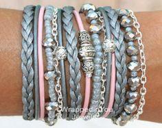 CHUNKY Boho Wrap Bracelet Pick SIZE Silver door WrappedinYou