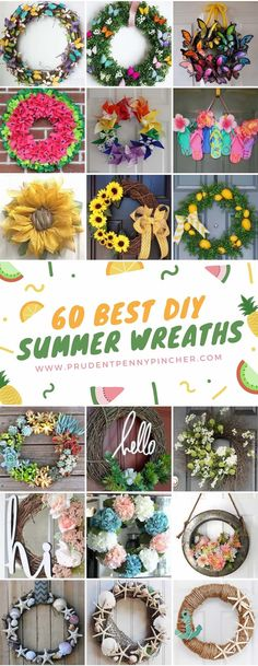 Welcome summerby adding a splash of color to your doorway with these bright and cheery DIY summer wreaths. There are fruit wreaths with lemon and watermelon designs, colorful floral wreaths with daisies and sunflowers and beach themed wreaths with seashells and rope. Summer Flip Flop Wreaths from Crafty Morning cardboard base + flip flops + …