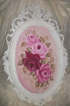 shabby & cottage chic HP roses original paintin on vintage syroco mirror