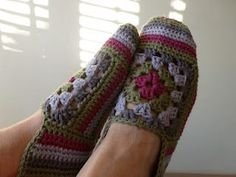 The link to the pattern is here, but it is a purchased pattern. Mind you, if you had two granny squares left over you could just crochet around them until they covered your foot! Sort of... ;) http://karinaandehaak.blogspot.com.au/2012/04/granny-rose-sloffen.html      https://fbcdn-sphotos-a.akamaihd.net/hphotos-ak-ash3/553569_346989082034295_142317845834754_907555_2113170188_n.jpg
