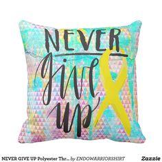 "NEVER GIVE UP Polyester Throw Pillow 16"" x 16"" #ENDOMETRIOSIS #endowarriors. #ENDOMETRIOSISAWARENESSMONTH #endosisters #endosister #endowarriorshirt #endendo #endostrong #endowarrior #yellowforendo #yellowforendometriosis #endo #endosis #endosucks #endoawareness #endometriosis #EndometriosisAwareness #cureendo #lifewithendo #fightingendometriosis #fightingendosucks #weneedacure #endtoendo #otwwy #onthursdayswewearyellow #teamendosister #invisibledisease #girlswithendo #chronicpain…"