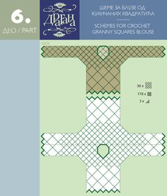 Handy guide Charts for motif placement in the construction of crochet shirts, tank tops, tunics, etc, for these motifs types: triangles, squares, rounds, hexagons, samplers with motifs, etc.   :)  Todo para Crear ... : todo par crear con cuadrados en crochet moldes 1y 2