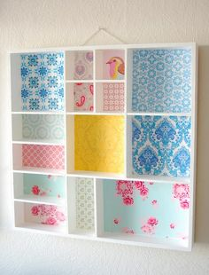 Add vibrant prints (fabric or paper) to brighten up plain shelves Box Shelves, Display Shelves, Shelf, Small Shelves, Display Boxes, Retro Home Decor, Diy Home Decor, Cardboard Box Crafts, Cardboard Box Storage