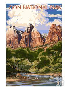 Zion National Park, Utah - Virgin River & Peaks - Lantern Press Artwork (Art Print Available) National Park Posters, Us National Parks, Zion National Park, Zion T, Nationalparks Usa, Voyage Usa, Wpa Posters, Retro Poster, Vintage Travel Posters