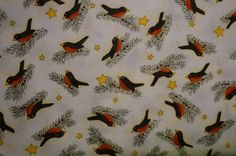 Snow Flurries Tossed Birds Motif (White background); sold by the yard