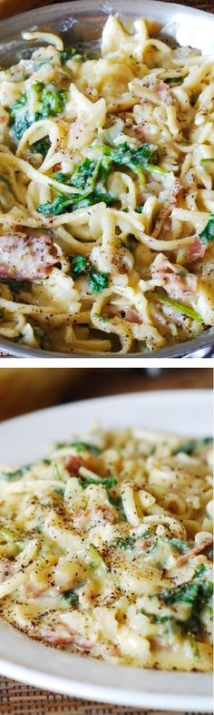 Easy-to-make pasta carbonara: no cream is used and all grease is drained from bacon. Plus lots of fresh parsley, onions, and some garlic! @juliasalbum