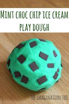 Mint Choc Chip Play Dough Ice Cream Recipe - The Imagination Tree Play Dough Ice Cream Recipe, Chocolate Play Dough Recipe, Soft Playdough Recipe, Ice Cream Recipes, Homemade Playdough, Tutti Frutti, Salt Dough Handprints, Sands Recipe, Foam Crafts