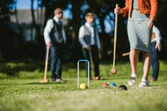 Anyone for croquet.  Brilliant wedding day entertainment for guests.  Available for hire from Cornwall's Box and Cox Vintage Hire. Cornish wedding, Cornwall wedding, lawn games, garden games
