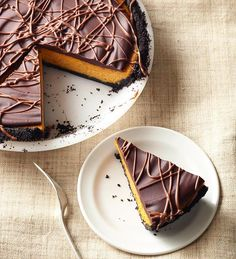 Chocolate-Glazed Pumpkin Pie Cheesecake from the Better Homes and Gardens Must-Have Recipes App