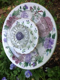 Side view of Scottish thistle plate. MiMi's Plate Flowers