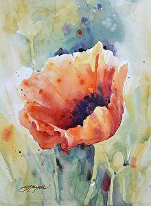 Poppy Prime by Yvonne Joyner Watercolor ~ 20 in. including mat x 16 in including mat