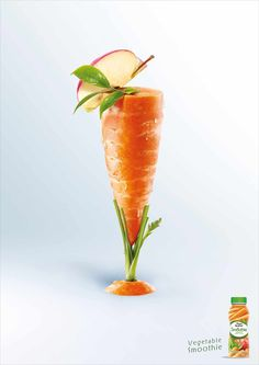 Pierre Martinet: Vegetable smoothie, Carrot ||  Advertising Agency: BEING (TBWA), Paris, France ||  Creative Director: Thierry Buriez ||  Art Director: Jean-Pierre Roges || Copywriter: Eric Sintes ||  Photographer: Laurent Fau / Studio des Fleurs ||  Art Buyer: Caroline Roesch ||  Published: May 2012