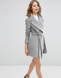 ASOS Skater Coat in Wool Blend With Oversized Collar and Self Belt