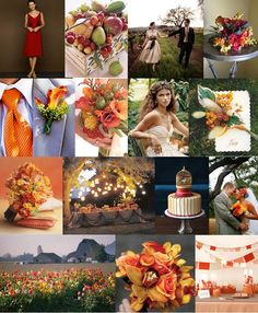 """Does this look to """"Fall-esque"""" for a January wedding? It IS Florida after all.so maybe it doesn't matter? I also like this b/c it is bright, has my favorite color (green) annnd, for fun, hints at FSU & UM colors (our teams) Orange Wedding Themes, Bright Wedding Colors, Wedding Color Schemes, Fall Wedding Bridesmaids, Fall Wedding Bouquets, Wedding Flowers, Rustic Bouquet, Wedding Ideas, Wedding Rustic"""