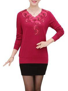 Casual V-Neck Printing Long Sleeve Slim Elegant Pullover Sweater