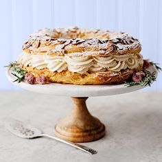Paris-Brest Cake // This light, almond-y French pastry is worth the effort—trust us. /search/?q=%23hannafordfresh&rs=hashtag