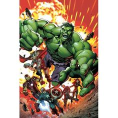 """East Urban Home 'Marvel Avengers' by Marvel Comics Graphic Art on Wrapped Canvas Size: 18"""" H x 12"""" W x 0.75"""" D"""