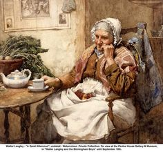 """artwork: Walter Langley - """"A Quiet Afternoon"""", undated - Watercolour. Private Collection. On view at the Penlee House Gallery & Museum, in """"Walter Langley and the Birmingham Boys"""" until September 10th."""