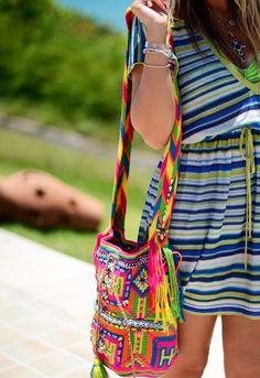 Cute wayuu bag #wayuubag #etnic http://moonlionbags.etsy.com/