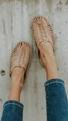 Woven leather slip on shoes - ROOLEE