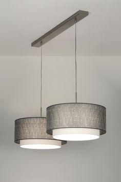 Sfeervolle hanglamp met twee dubbele, stoffen kappen. Elke kap bestaat uit twee kappen die over elkaar heen vallen. Voor keuken tafel of woonkamer tafel . Shop nu via deze Link bij : www.rietveldlicht.be Keuze uit meer dan 3000 artikelen.