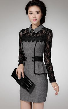 Retro Elegant OL Fashion Lace Crochet Ruffled Womens Work Party Autumn Dress #Unbranded #WrapDress #Casual