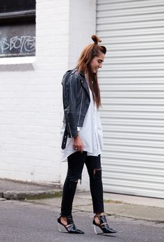 Moto Girl - Perfect pastels transcend the pretty look. Rock a casual pastel with your favourite blue jeans, mean aviators and roughed-up leather. Awesome alert! #leatherjacket #bikerjacket #bomberjacket #skinnyjeans #whitetee
