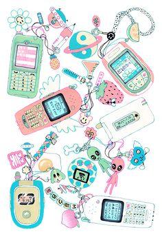 """original drawing i made for the 'CALL ME' t-shirt. Art Kawaii, Kawaii Shop, Posca, Pastel Art, Aesthetic Art, Retro, Cute Wallpapers, Cute Art, Art Inspo"
