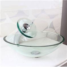 (EU Lager)Modern Glas Waschbecken Harz Design mit Wasserfall Wasserhahn