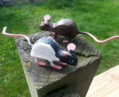 2 Small Hand Painted Cast Iron Mice or Baby Rats - Agouti and Black and White Hooded