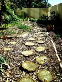Backyard With Wooden Log Pathway : Build A Log Pathway By Yourself