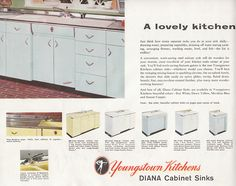 """Orange kitchen cabinets — yes! I call this vintage color """"bittersweet"""", and it makes me want to repaint my vintage kitchen orange! The lovely Mitzi of Vintage Goodness fame picked up this 13-page catalog of Youngstown steel kitchen cabinets at a tag sale, and before she resold it, she scanned it to share with other …"""
