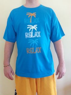 Relax Tee  Blue Yellow or Lime Green by CoolAssTee1 on Etsy