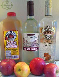 Caramel Apple Sangria Recipe !!! 1 750 ml bottle of pinot grigio, 1 cup caramel flavored vodka, 6 cups apple cider, 2 medium apples, cored & chopped. Ice.