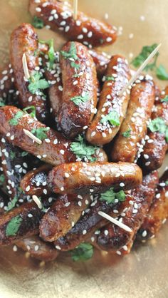 cocktail sausages baked to perfection with a sweet and sticky Asian glaze