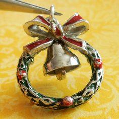Vintage Enamel Christmas Xmas Wreath Sterling by AGenuineFind