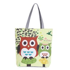 Large Owl Canvas Handbag