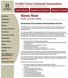 CUNA News Now | Consumers CU launches smart business services | 7/20/12